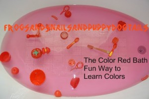 The color red bath theme- fun way to learn colors