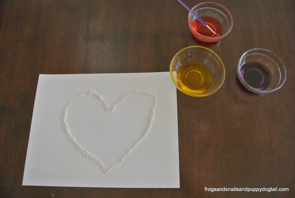 Salt and Glue Heart Art