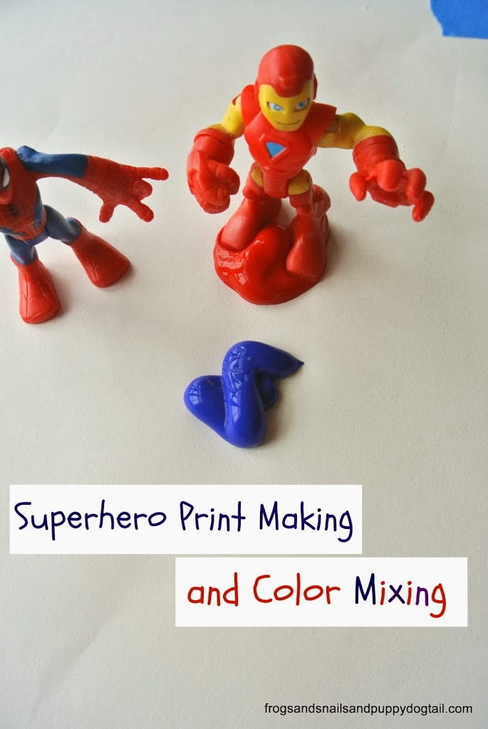 Superhero Print Making and Color Mixing