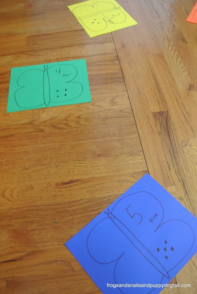 Butterfly Color and Number Walk ~ gross motor skills