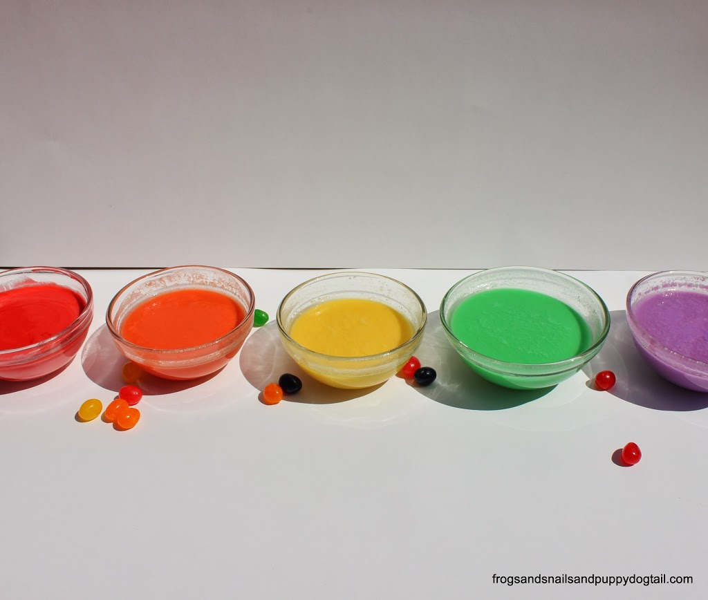 Before making our Sensory Paints we first did a jelly bean science ...
