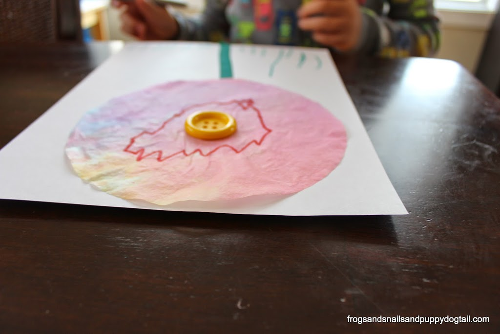 Marbled Coffee Filter and Button Flowers