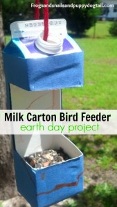 Milk Carton Bird Feeder ~ Earth Day project for kids by FSPDT