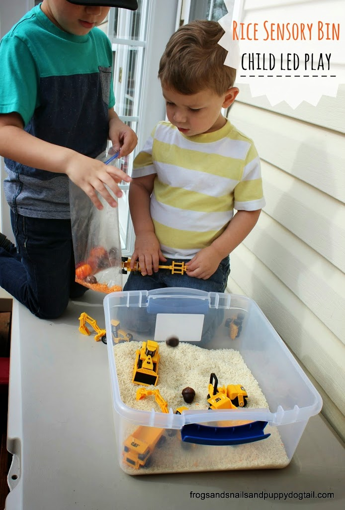 Rice Sensory Bin- child led play