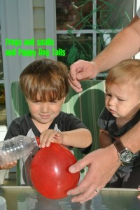 Blowing up a balloon with a twist- science for kids