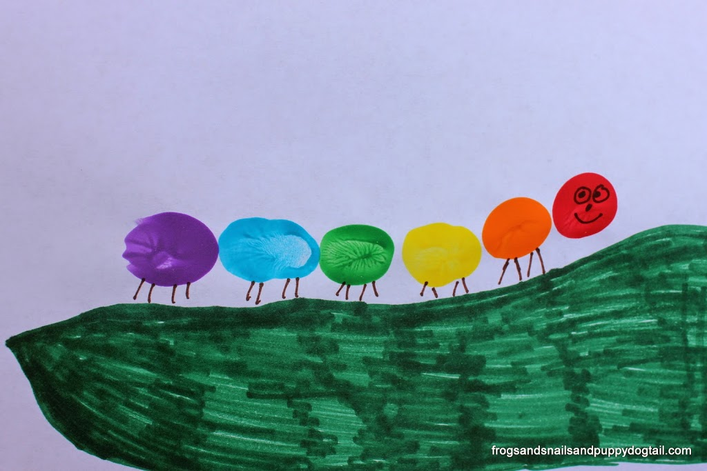 Rainbow Caterpillar Fingerprint Craft