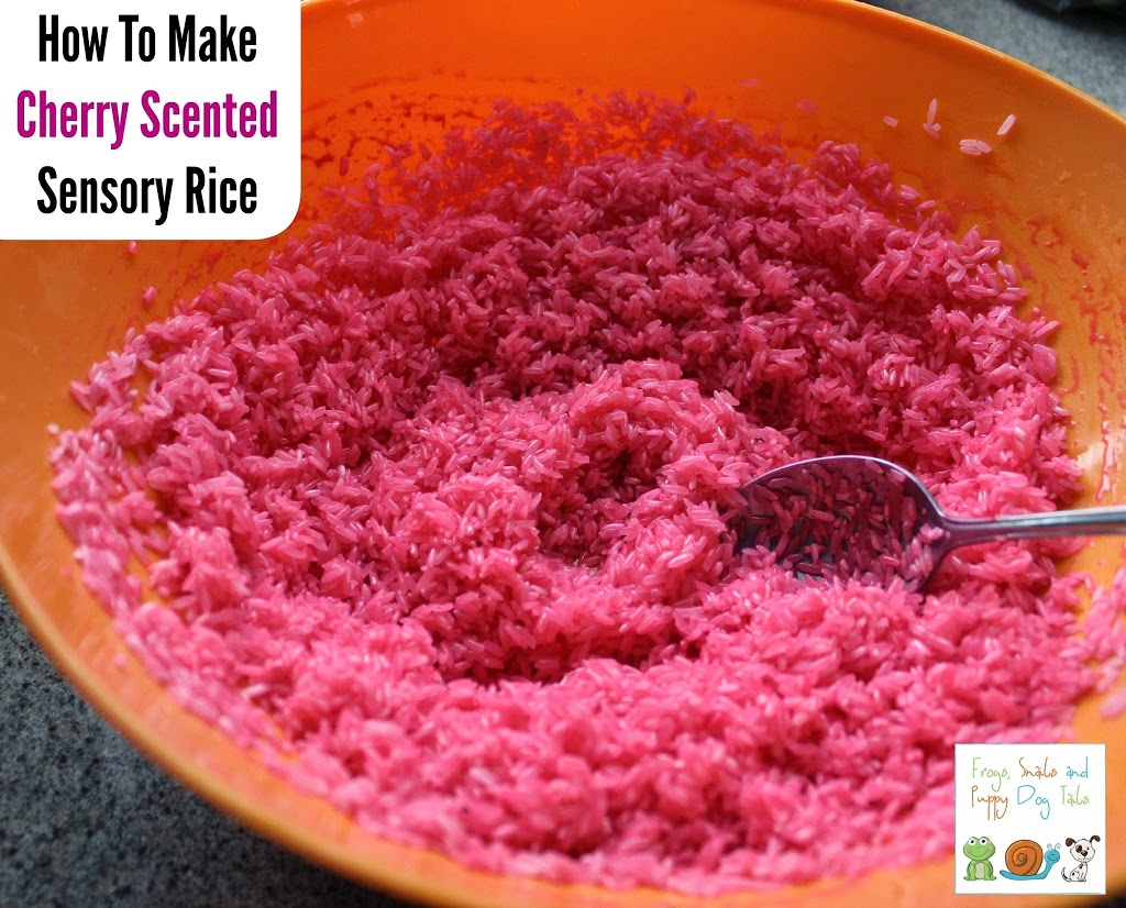 how to make cherry scented sensory rice