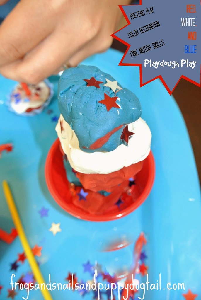 Red, white, and blue playdough play Activity for Kids