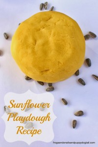 Sunflower Playdough Recipe and printable playdough mat
