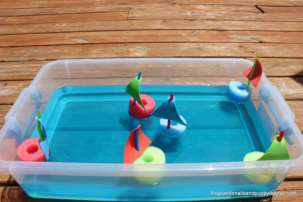 Pool Noodle Boats Water Sensory Bin