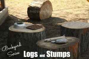 logs and stumps for play in the backyard