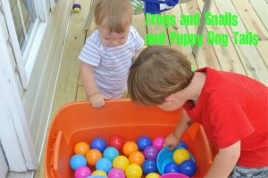 Tub of balls and bowls-water play