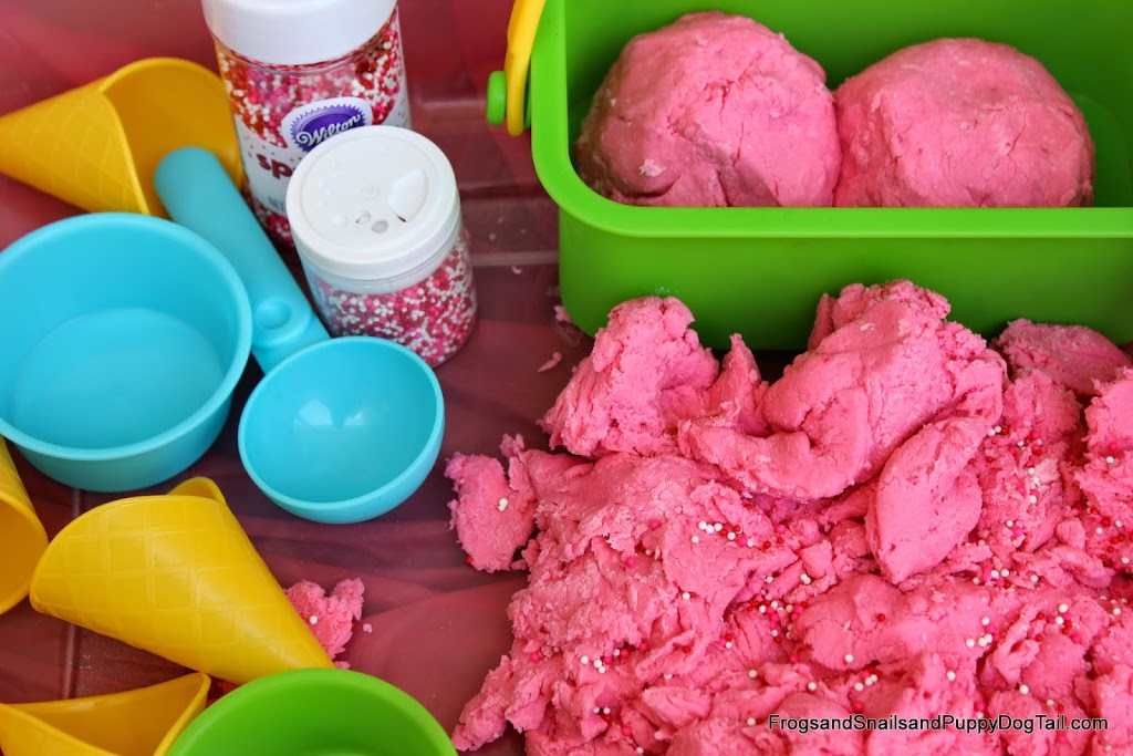 Strawberry Ice Cream Dough Sensory Bin