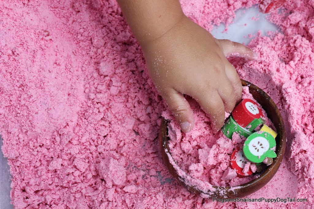 DIY Apple Scented Cloud Dough Sensory bin