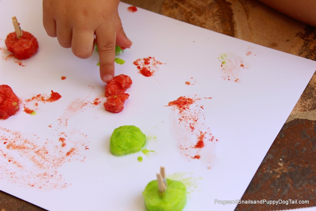 DIY Apple Scented Frozen Glitter Paints