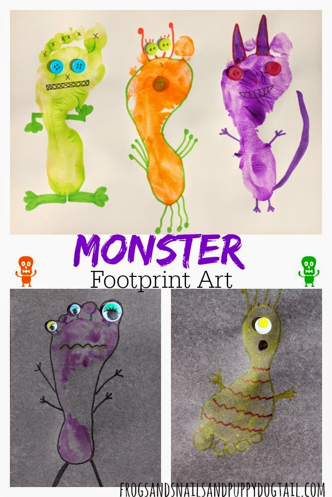 Monster Footprint Art for Kids for Halloween by FSPDT