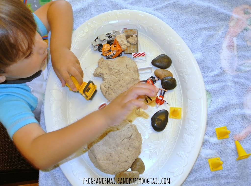Sand playdough recipe with construction play theme