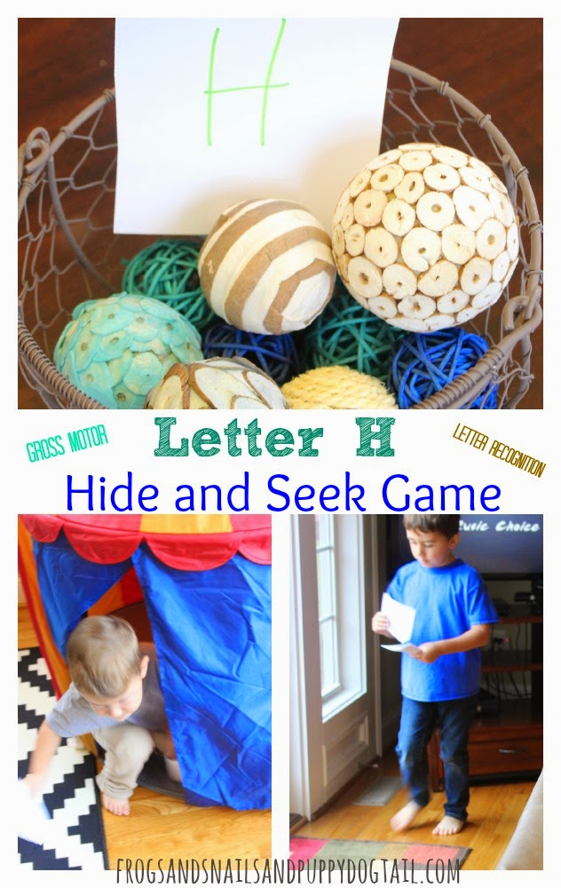 Letter H Hide and Seek Game for Kids great gross motor and letter recognition on FSPDT