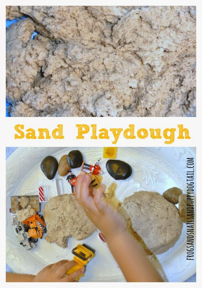 Sand playdough recipe with construction play theme on FSPDT