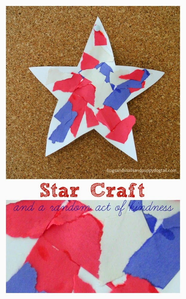 Patriotic Torn Paper Stars: easy and fun craft for the kids