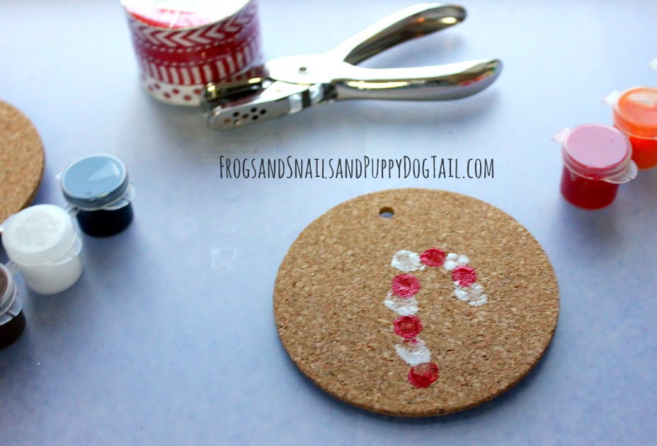 candy cane fingerprint ornament