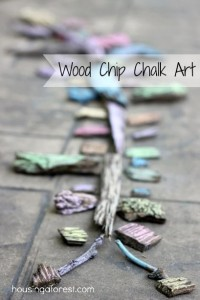 Wood Chip Chalk Art ~ Simple activity your kids will love.  Perfect for the back yard or at the park!