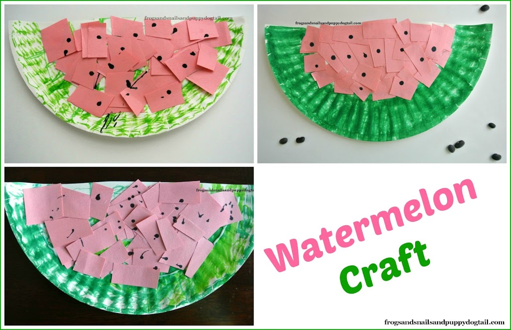 paper plate watermelon crafts kids