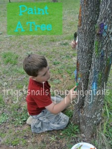 Finding Something New To Paint- A TREE.  fun summer activity for kids