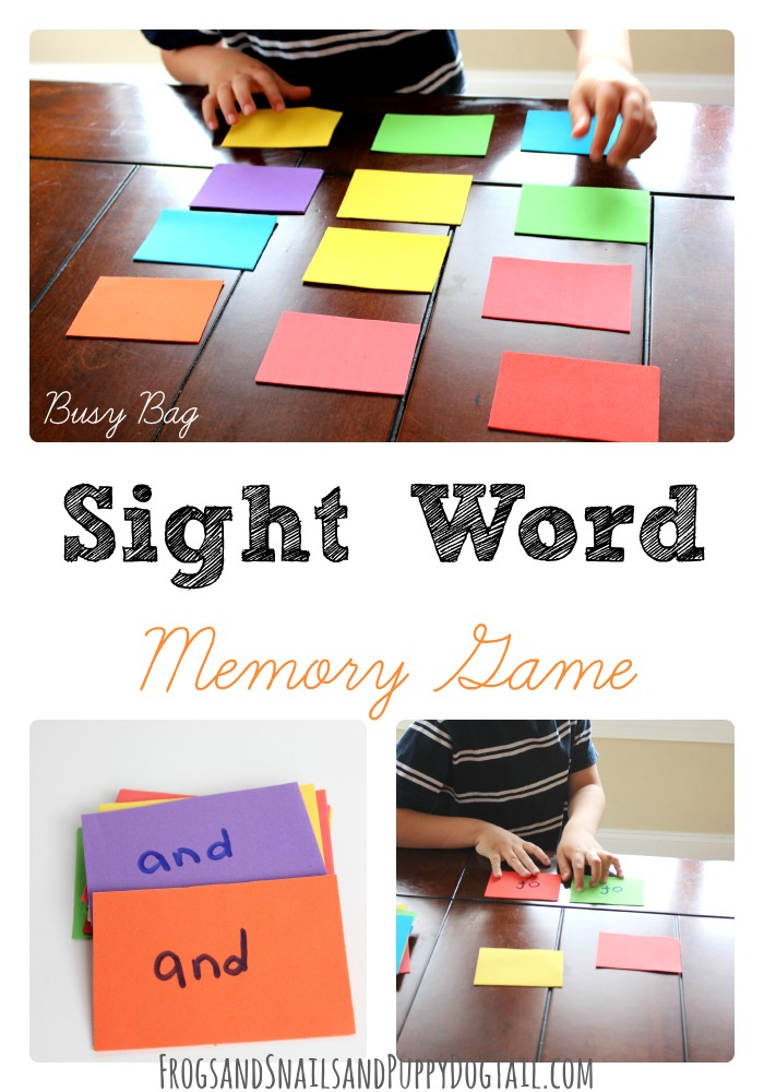 Busy Bag Sight Word Memory Game