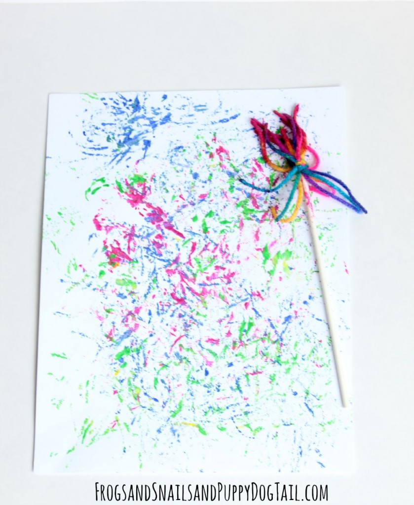DIY yarn paint brush paintings with kids