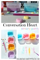 DIY conversation heart sensory paints
