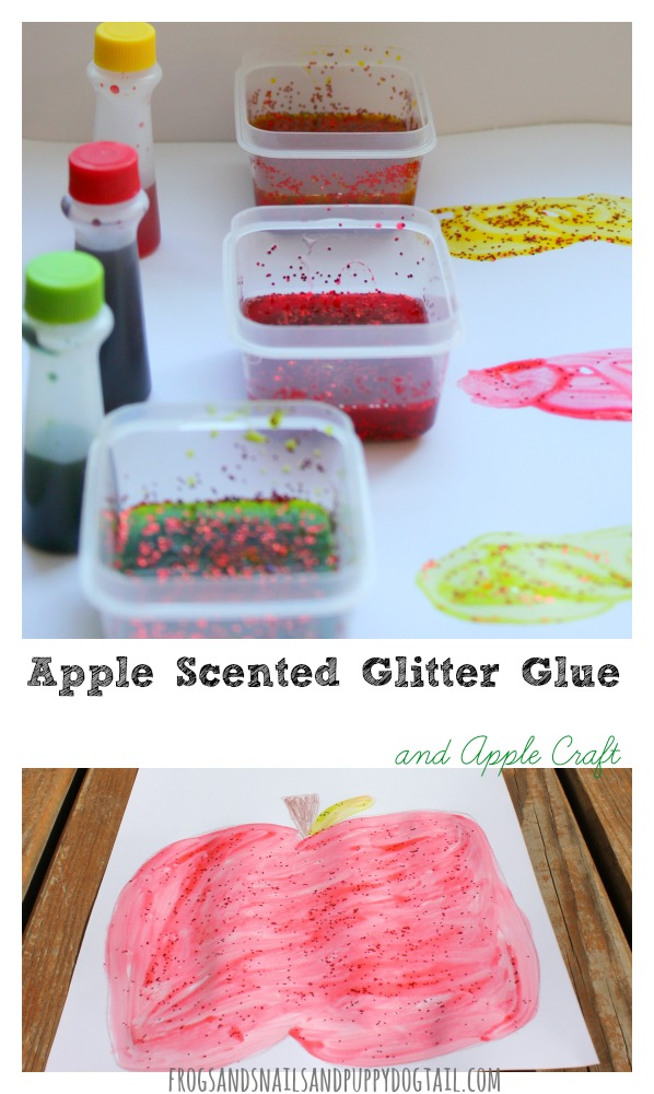 DIY apple scented glitter glue recipe