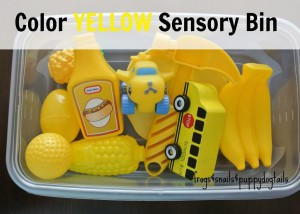 Color Yellow Sensory bin for baby/toddler