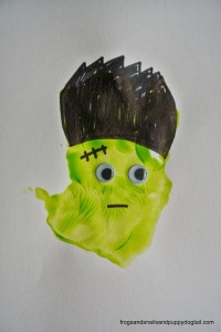 Frankenstein Footprint and Handprint Art- classic Halloween crafts for kids by FSPDT