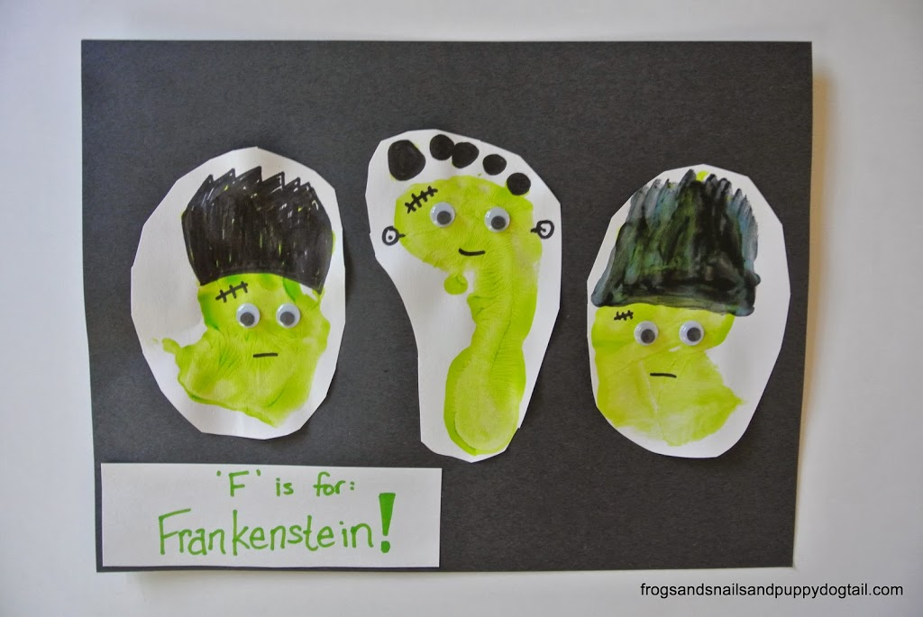 Footprint And Handfrankenstein Print Art Classic Halloween Crafts