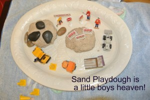 Sand playdough with construction play theme