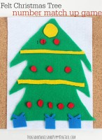 felt christmas tree number match up game for kids