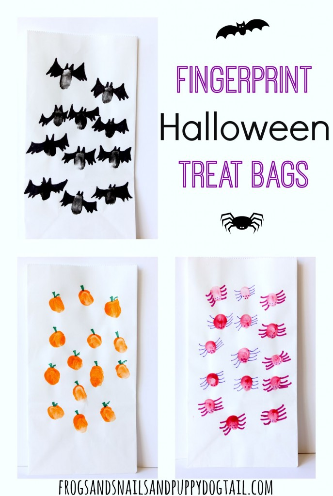 fingerprint art Halloween treat bags