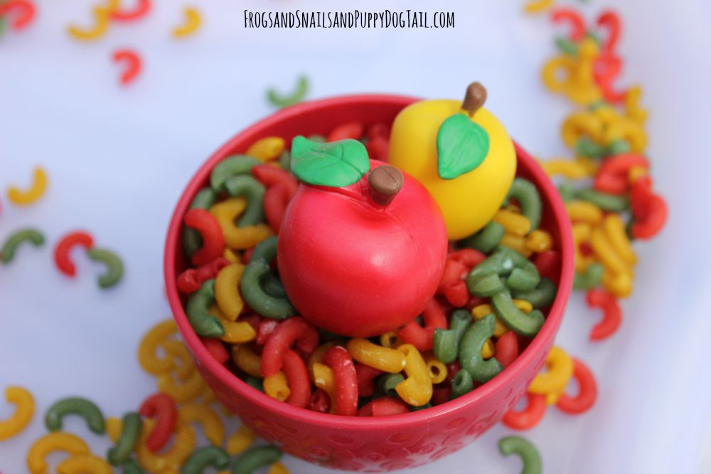 apple scented noodles for sensory play