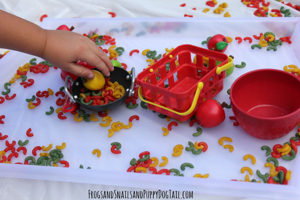 dry pasta for sensory play