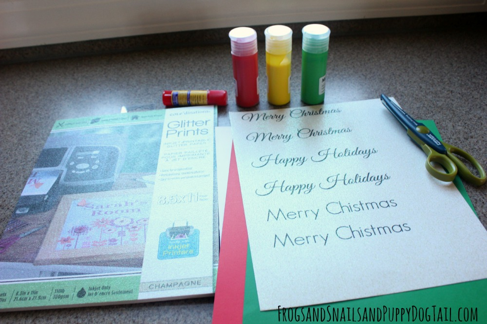 glitter print christmas cards