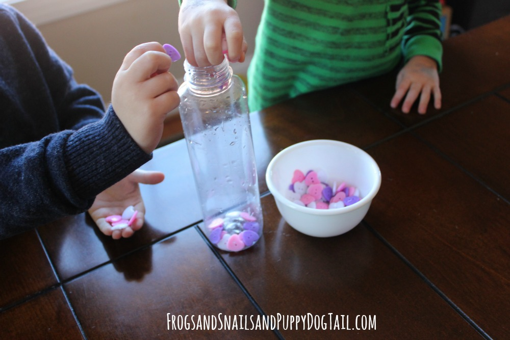 sensory bottle for valentine's day