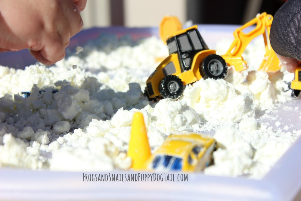sensory play activity with snow dough
