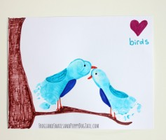 love bird footprint art