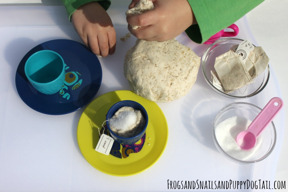 natural chamomile playdough pretend play for kids