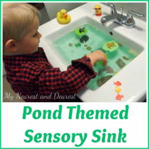Frog Pond Theme sensory activity for toddlers or preschoolers
