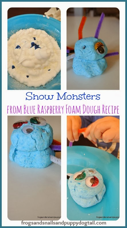 Snow Monsters from Blue Raspberry Foam Dough Recipe by FSPDT
