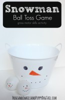 Snowman ball toss game gross motor skills activity for kids