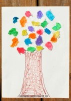 Tissue Rainbow Tree Craft for kids