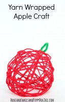 yarn wrapped apple craft with kids